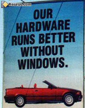 image panneau publicitaire bmw voiture jeu de mot windows