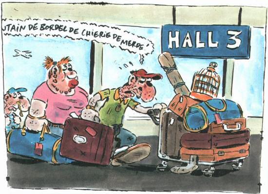 bande dessinee bureau des supplices aeroport bagages hall 3