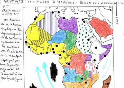 image carte afrique dessin devoir �cole �l�ve copie humour insolite