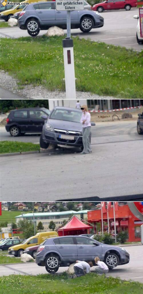 image rigolo voiture femme parking garer blonde humour insolite