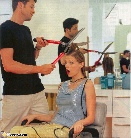 image coiffeur avec ciseaux hommes femmes humour insolite